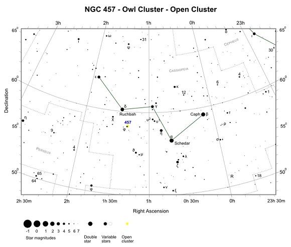 VCSE - NGC 457 keresőtérkép