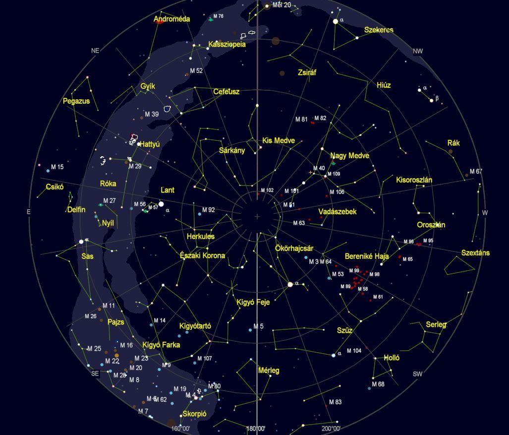 VCSE – Az égbolt látványa Zalaegerszegről nézve 2020. június 21-én este 22 órakor. (Az égtájak rövidítése: N: észak, NE: északkelet, E: kelet, SE: délkelet, S: dél, SW: délnyugat, W: nyugat, NW: északnyugat.) A világoskék sáv a Tejút sávja. A koncentrikus körök húsz fokonként (20°, 40°, 60° és 80°) a horizont feletti magasságok, a sugarasan kiágazó vonalak az azimutok 20 fokonként. – A kép a Cartes du Ciel programmal készült.