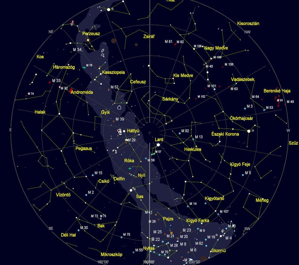 VCSE – Az égbolt látványa Zalaegerszegről nézve 2020. augusztus 20-án este 22 órakor. (Az égtájak rövidítése: N: észak, NE: északkelet, E: kelet, SE: délkelet, S: dél, SW: délnyugat, W: nyugat, NW: északnyugat.) A világoskék sáv a Tejút sávja. A koncentrikus körök húsz fokonként (20°, 40°, 60° és 80°) a horizont feletti magasságok, a sugarasan kiágazó vonalak az azimutok 20 fokonként. – A kép a Cartes du Ciel programmal készült.