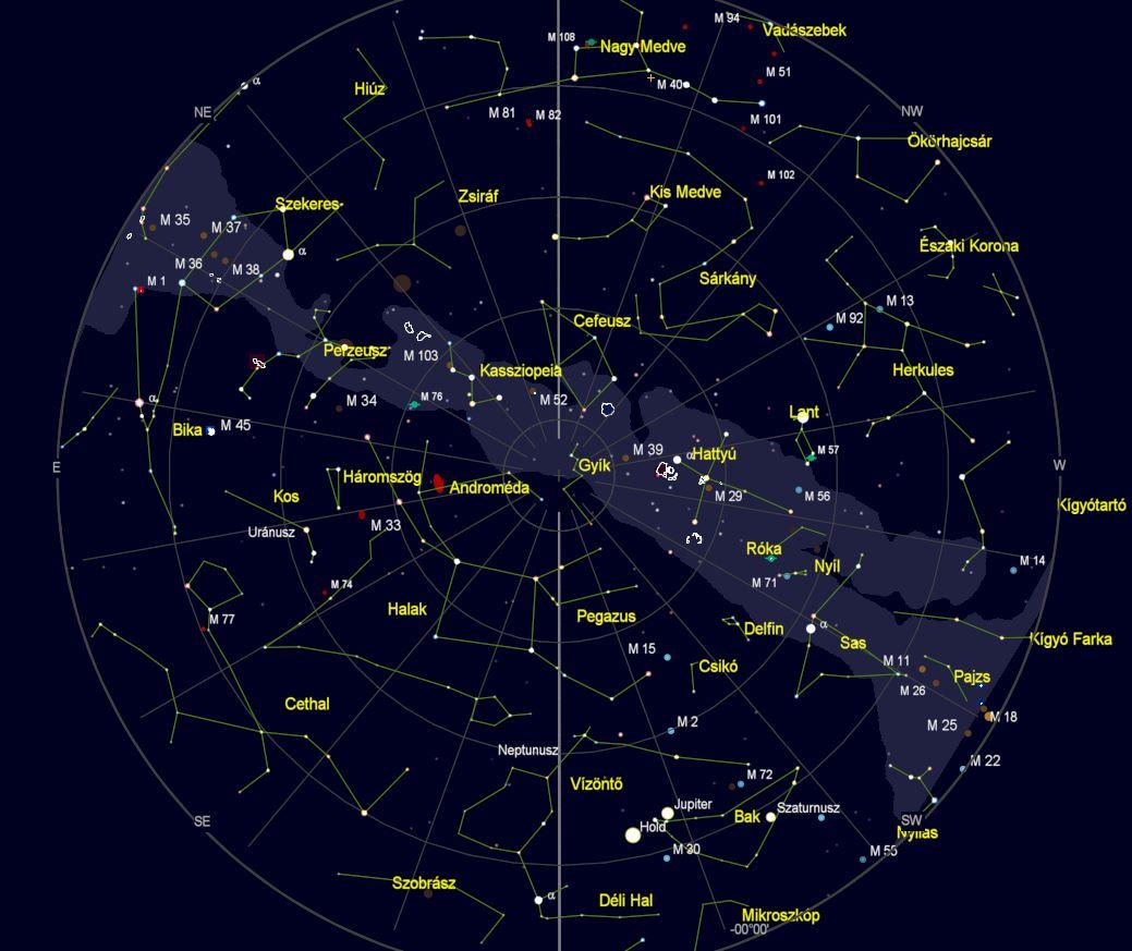 VCSE – Az égbolt látványa Zalaegerszegről nézve 2021. október 15-én este 22 órakor. (Az égtájak rövidítése: N: észak, NE: északkelet, E: kelet, SE: délkelet, S: dél, SW: délnyugat, W: nyugat, NW: északnyugat.) A világoskék sáv a Tejút sávja. A koncentrikus körök húsz fokonként (20°, 40°, 60° és 80°) a horizont feletti magasságok, a sugarasan kiágazó vonalak az azimutok 20 fokonként. – A kép a Cartes du Ciel programmal készült.